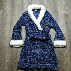 Ulta Beauty Fuzzy Fluffy Bath Robe Blue White S/M